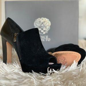 Black platform bootie heels